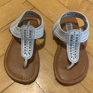 White studded thong sandals